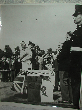 An original photograph of the HRH Prince Philip at the Empire Games 1958 signed on the reverse with official signatures.