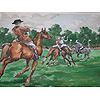 Signed watecolour polo match dated 1985 W Sutton